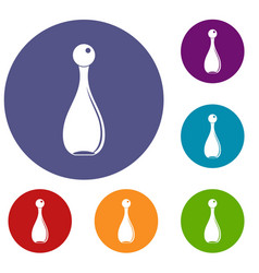 Elegant parfume bottle icons set vector