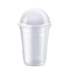 empty clear disposable plastic cup with lid vector image