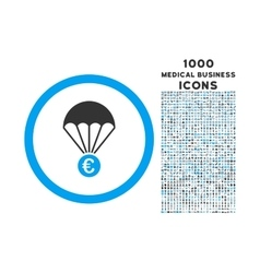 Euro Parachute Rounded Icon with 1000 Bonus Icons vector image