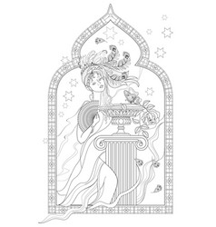 fantasy drawing beautiful girl from eastern vector image