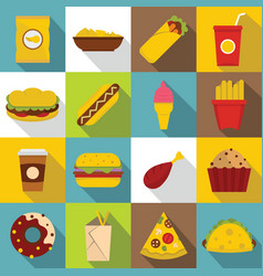 fast food icons set flat style vector image