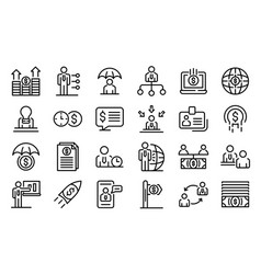 Financial advisor icons set outline style vector
