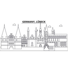 Germany lubeck line skyline vector