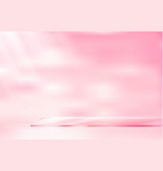 Glass shelf pink background vector