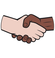 handshake between black and white man vector image