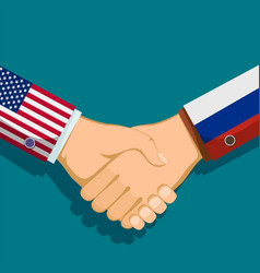 Handshake of two president policy between the usa vector