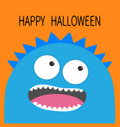 Happy halloween card monster head with two eyes vector