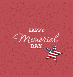 happy memorial day hand letterind greeting card vector image