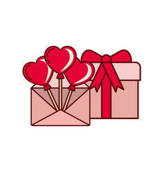 heart balloons with gift box isolated icon vector image