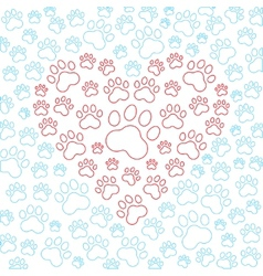 Heart with dog or cat paws background vector