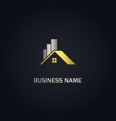 home realty graph business gold logo vector image