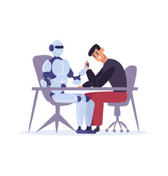 Human competing with robot in arm wrestling man vector