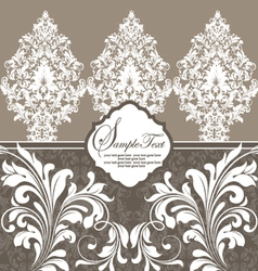 Invitation vintage card with floral ornament vector image
