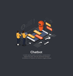Isometric chatbot concept personal helper vector