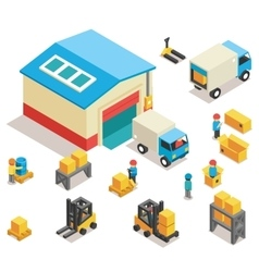 Isometric factory distribution warehouse building vector image