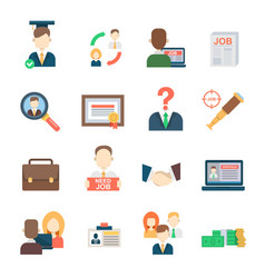 job search set office human resourses recruitment vector image