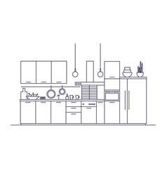 kitchen full of furniture household appliances vector image