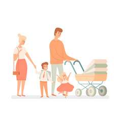 large family parents and children happy mother vector image