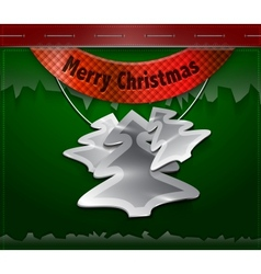 Merry Christmas card Hanging metallic Christmas vector image