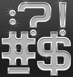 metal diamond letters and numbers 10 vector image