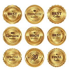 metalic gold seal badges labels vector image