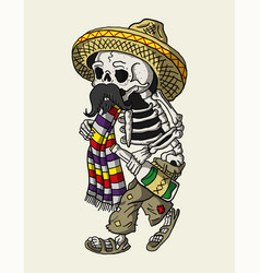 mexican skull drunk vector image