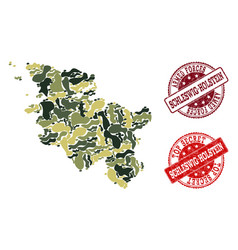 military camouflage collage of map of schleswig vector image