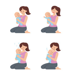 mother holding happy baset vector image