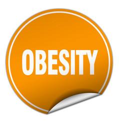 Obesity round orange sticker isolated on white vector