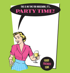 Party time retro housewife party invitation vector