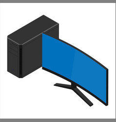 Pesronal computer pc with monitor screen isolated vector