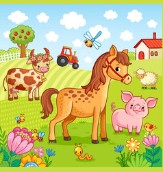 Pets graze near the farm vector