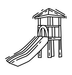 playground kids slide playingchildrenkindergarten vector image