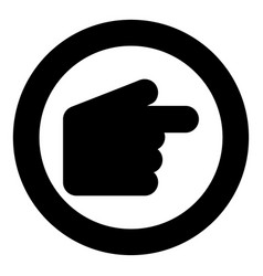 pointer hand icon black color in circle vector image