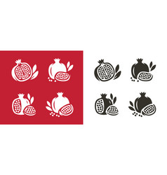 Pomegranate fruit icons set natural food symbol vector