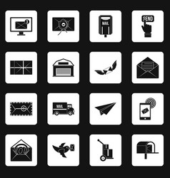 poste service icons set squares vector image