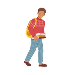 preteen boy with books and satchel on shoulders vector image