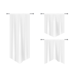 Realistic white textile banners with folds vector image