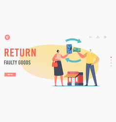 Return faulty goods landing page template vector