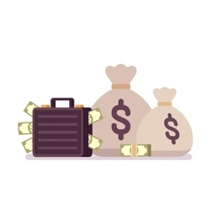 Sacks and case full of money vector