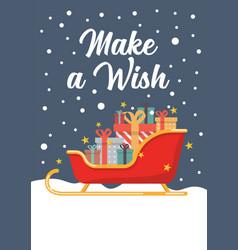 santa sleigh full present boxes greeting card vector image