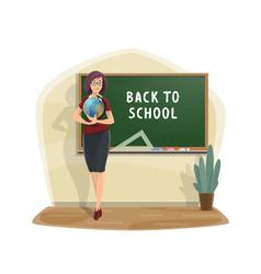 school blackboard and teacher with globe vector image