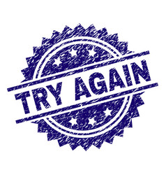 Scratched textured try again stamp seal vector