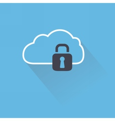 Secure digital cloud with lock vector image