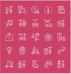 Set line icons bike sharing vector