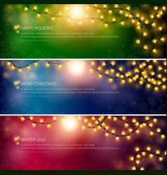Set of festive bannersyellow glowing garlands vector
