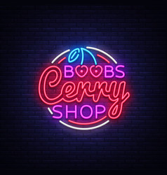 sex shop design template with cherry boobs cherri vector image