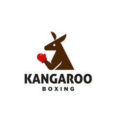 Simple kangaroo boxing logo design icon vector