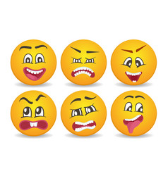 Smileys with different face expression stuck vector
