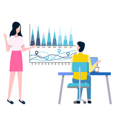 Statistics sales business charts man and woman vector